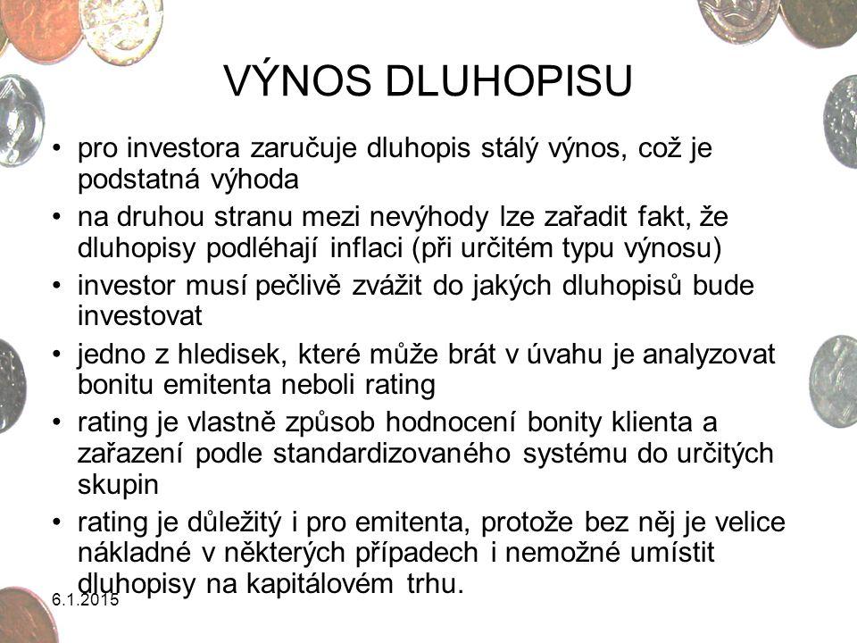 6.1.2015 VÝNOS DLUHOPISU pro investora zaručuje dluhopis stálý výnos, což je podstatná výhoda na druhou stranu mezi nevýhody lze zařadit fakt, že dluh