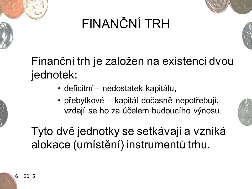 6.1.2015 FINANČNÍ TRH Finanční trh je založen na existenci dvou jednotek: deficitní – nedostatek kapitálu, přebytkové – kapitál dočasně nepotřebují, v