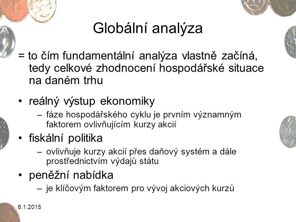 6.1.2015 Globální analýza = to čím fundamentální analýza vlastně začíná, tedy celkové zhodnocení hospodářské situace na daném trhu reálný výstup ekono