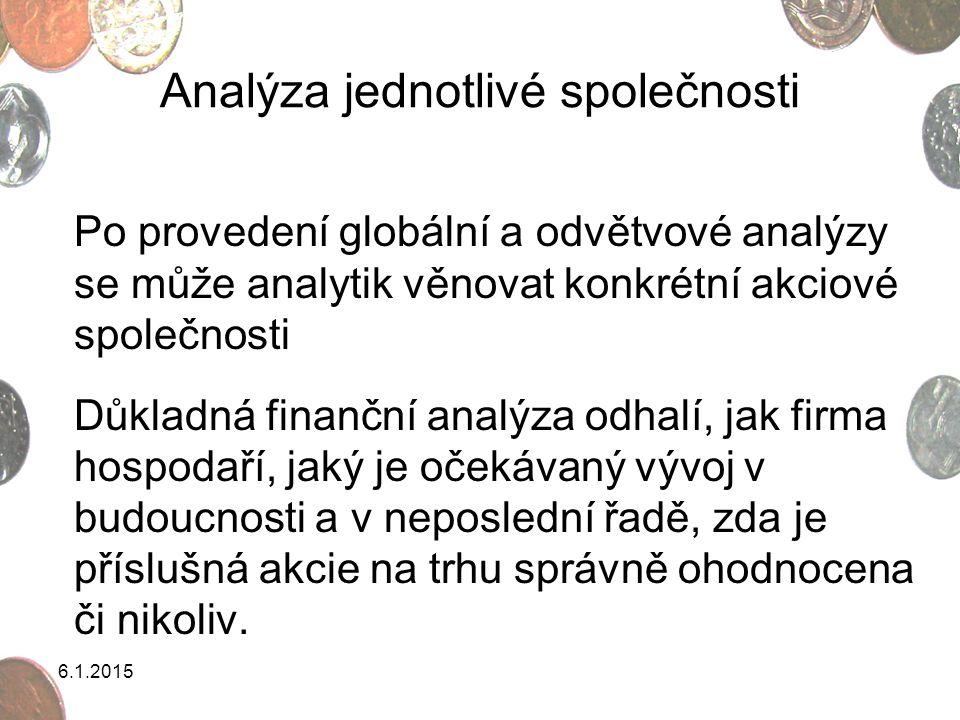 6.1.2015 Analýza jednotlivé společnosti Po provedení globální a odvětvové analýzy se může analytik věnovat konkrétní akciové společnosti Důkladná fina