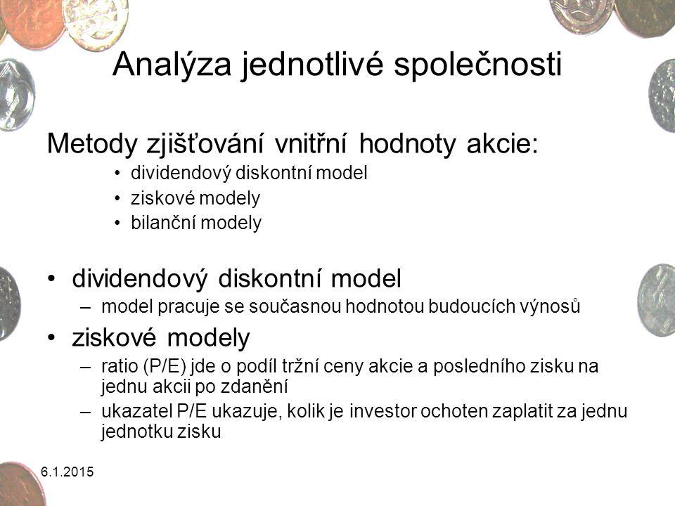 6.1.2015 Analýza jednotlivé společnosti Metody zjišťování vnitřní hodnoty akcie: dividendový diskontní model ziskové modely bilanční modely dividendov