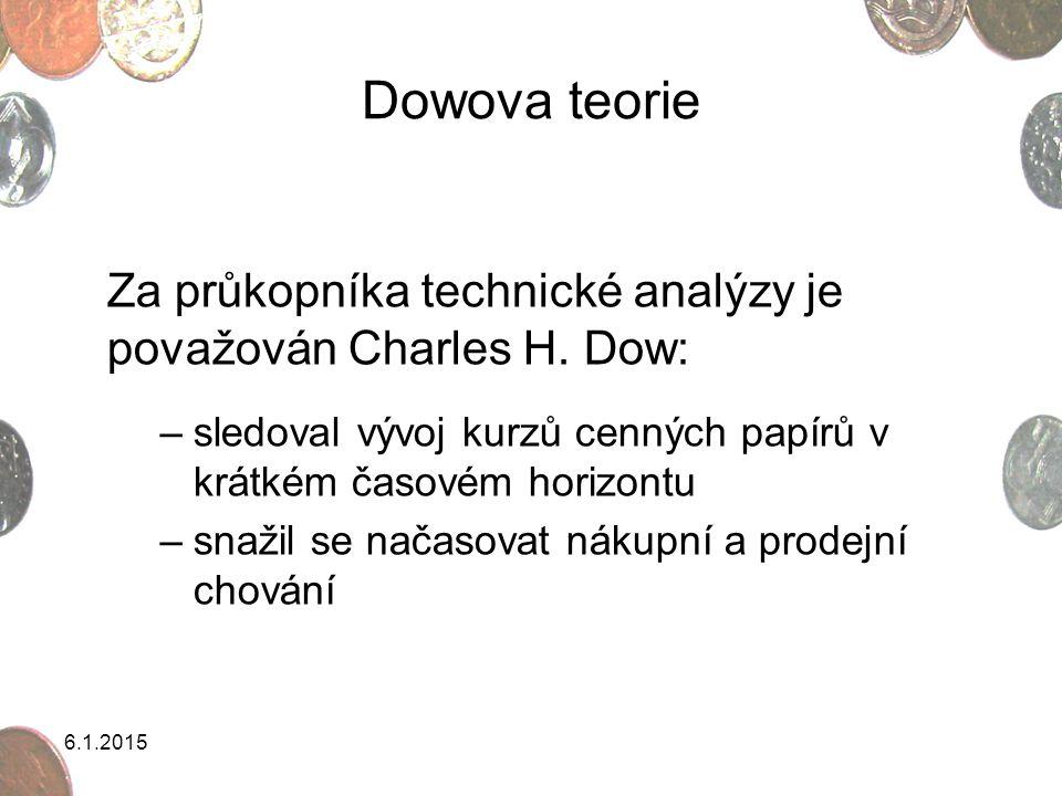 6.1.2015 Dowova teorie Za průkopníka technické analýzy je považován Charles H. Dow: –sledoval vývoj kurzů cenných papírů v krátkém časovém horizontu –