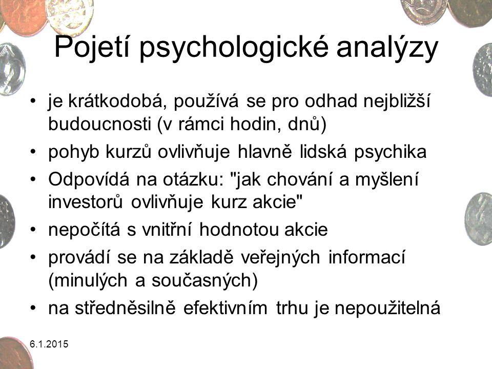 Pojetí psychologické analýzy je krátkodobá, používá se pro odhad nejbližší budoucnosti (v rámci hodin, dnů) pohyb kurzů ovlivňuje hlavně lidská psychi