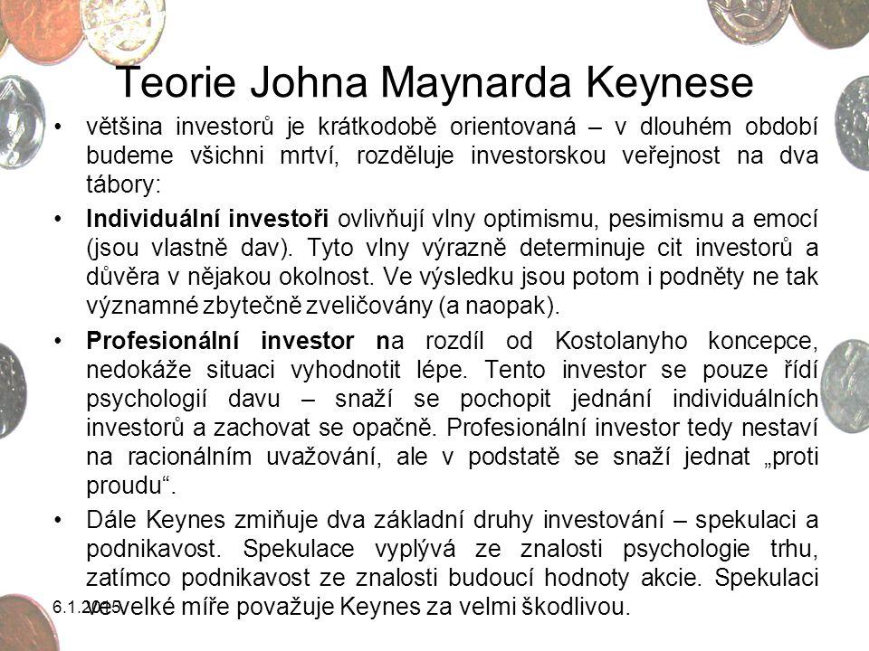 Teorie Johna Maynarda Keynese většina investorů je krátkodobě orientovaná – v dlouhém období budeme všichni mrtví, rozděluje investorskou veřejnost na