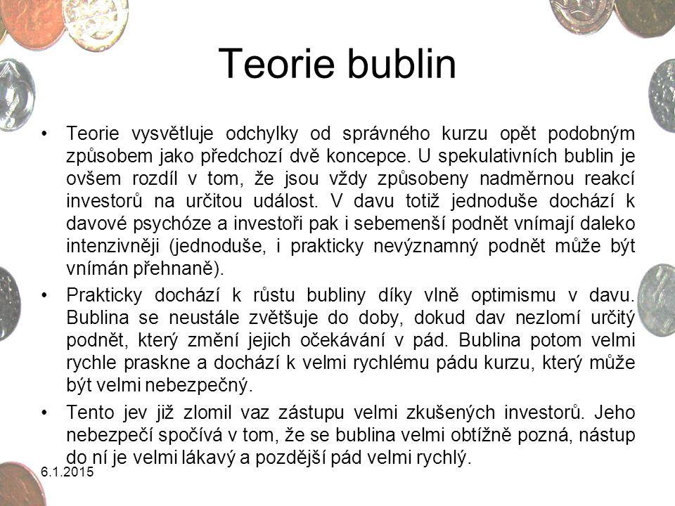 Teorie bublin Teorie vysvětluje odchylky od správného kurzu opět podobným způsobem jako předchozí dvě koncepce. U spekulativních bublin je ovšem rozdí