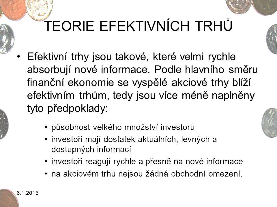 TEORIE EFEKTIVNÍCH TRHŮ Efektivní trhy jsou takové, které velmi rychle absorbují nové informace. Podle hlavního směru finanční ekonomie se vyspělé akc