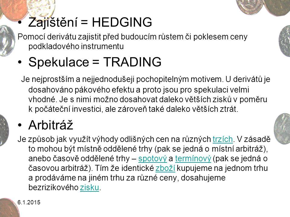 Zajištění = HEDGING Pomocí derivátu zajistit před budoucím růstem či poklesem ceny podkladového instrumentu Spekulace = TRADING Je nejprostším a nejje