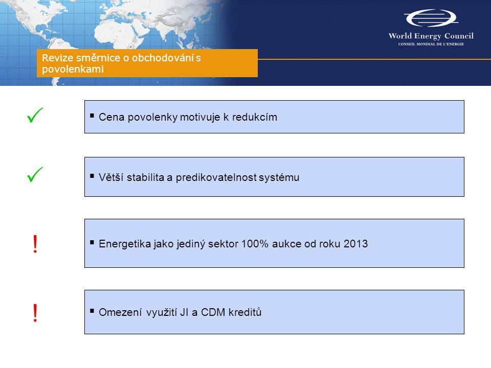 Revize směrnice o obchodování s povolenkami  Cena povolenky motivuje k redukcím  Větší stabilita a predikovatelnost systému  Energetika jako jediný sektor 100% aukce od roku 2013  Omezení využití JI a CDM kreditů   .
