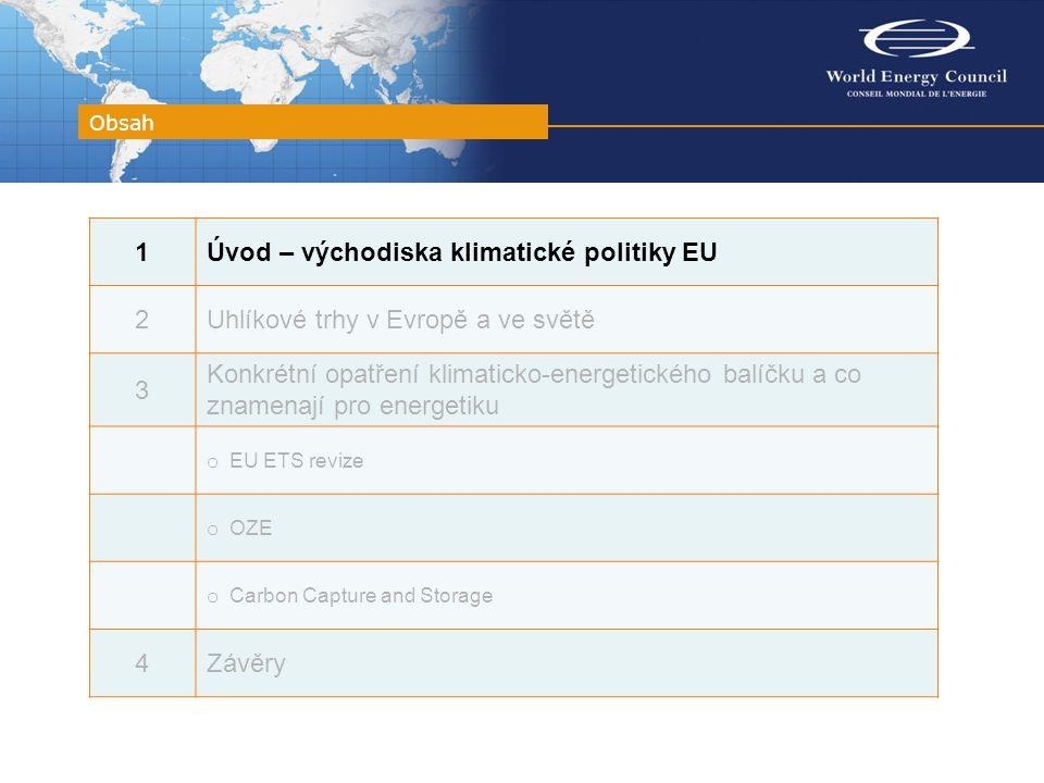 Obsah 1Úvod – východiska klimatické politiky EU 2Uhlíkové trhy v Evropě a ve světě 3 Konkrétní opatření klimaticko-energetického balíčku a co znamenají pro energetiku o EU ETS revize o OZE o Carbon Capture and Storage 4Závěry