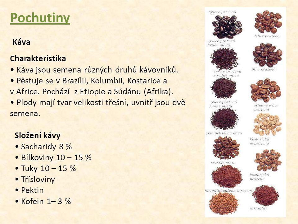Pochutiny Káva Charakteristika Káva jsou semena různých druhů kávovníků. Pěstuje se v Brazílii, Kolumbii, Kostarice a v Africe. Pochází z Etiopie a Sú