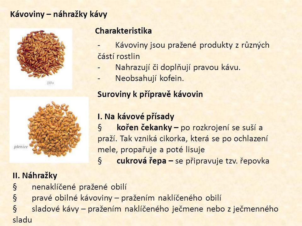 Kávoviny – náhražky kávy Charakteristika - Kávoviny jsou pražené produkty z různých částí rostlin - Nahrazují či doplňují pravou kávu. - Neobsahují ko