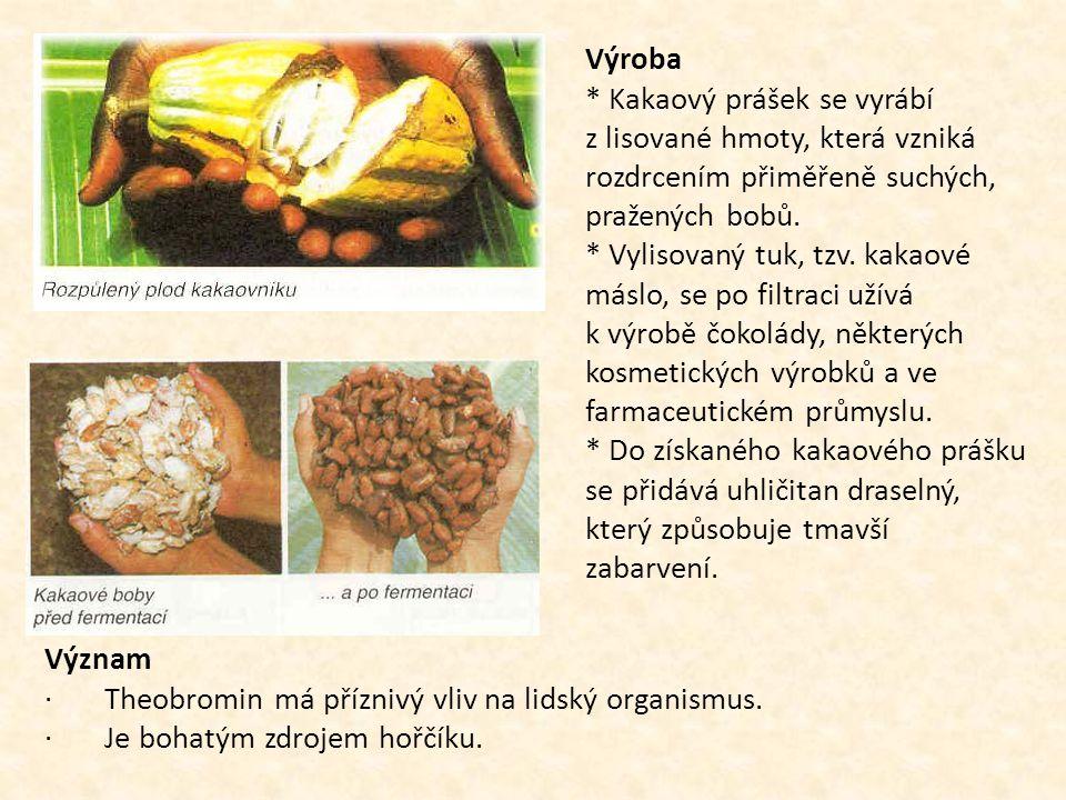 Výroba * Kakaový prášek se vyrábí z lisované hmoty, která vzniká rozdrcením přiměřeně suchých, pražených bobů. * Vylisovaný tuk, tzv. kakaové máslo, s