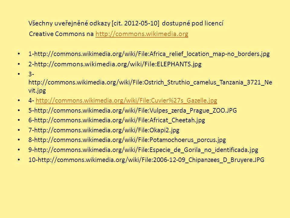 Všechny uveřejněné odkazy [cit. 2012-05-10] dostupné pod licencí Creative Commons na http://commons.wikimedia.orghttp://commons.wikimedia.org 1-http:/