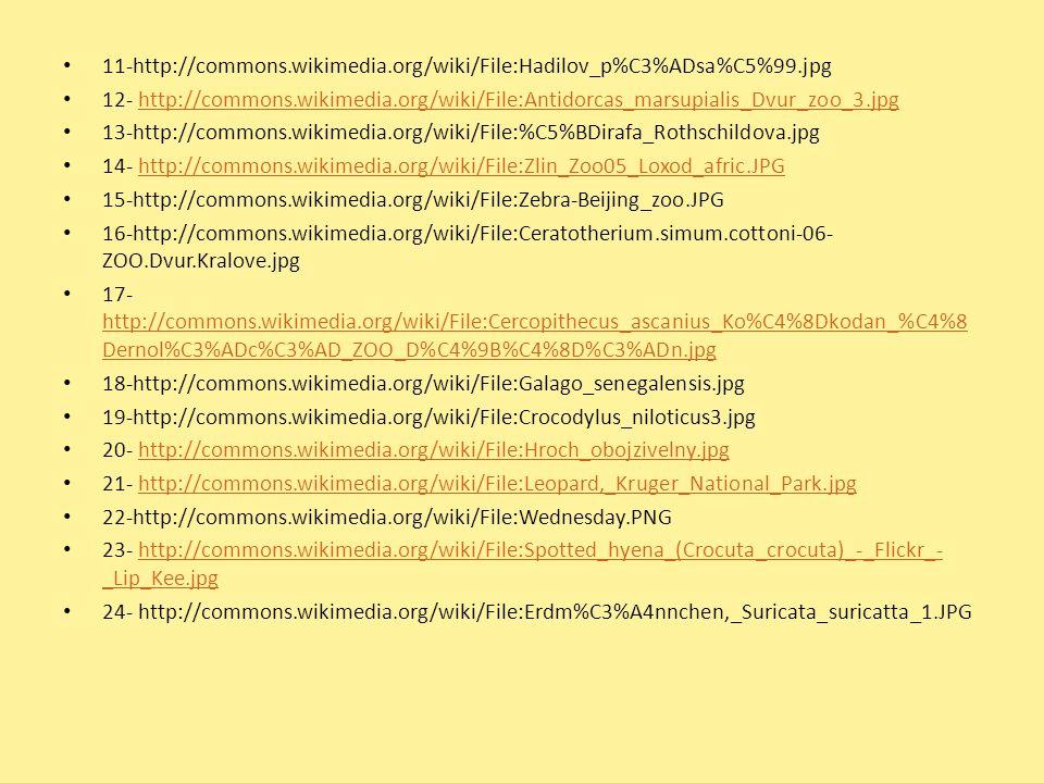 11-http://commons.wikimedia.org/wiki/File:Hadilov_p%C3%ADsa%C5%99.jpg 12- http://commons.wikimedia.org/wiki/File:Antidorcas_marsupialis_Dvur_zoo_3.jpg