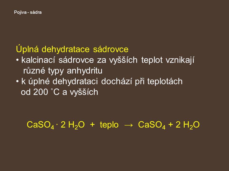 Pojiva - sádra Úplná dehydratace sádrovce kalcinací sádrovce za vyšších teplot vznikají různé typy anhydritu k úplné dehydrataci dochází při teplotách od 200 ˚C a vyšších CaSO 4 · 2 H 2 O + teplo → CaSO 4 + 2 H 2 O