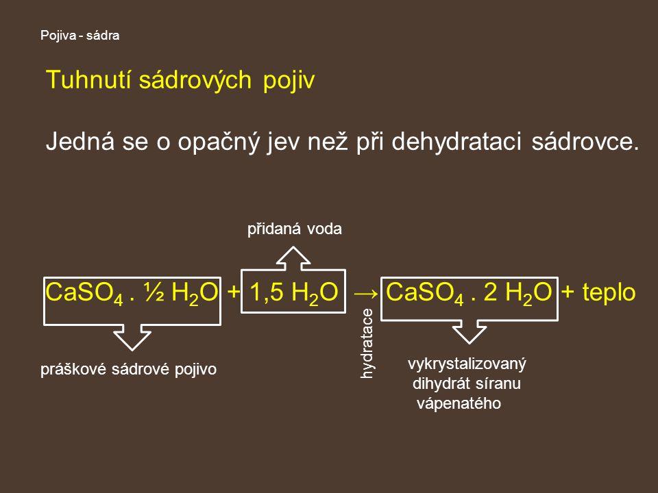 Pojiva - sádra Tuhnutí sádrových pojiv Jedná se o opačný jev než při dehydrataci sádrovce.
