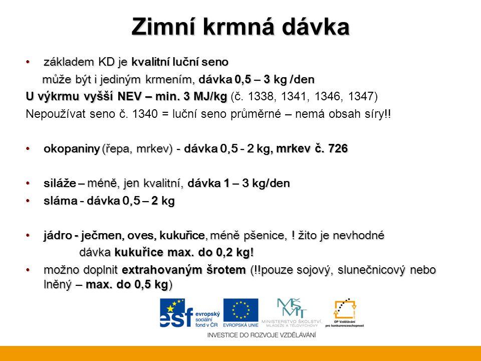Zimní krmná dávka základem KD je kvalitní luční senozákladem KD je kvalitní luční seno může být i jediným krmením, dávka 0,5 – 3 kg /den může být i jediným krmením, dávka 0,5 – 3 kg /den U výkrmu vyšší NEV – min.