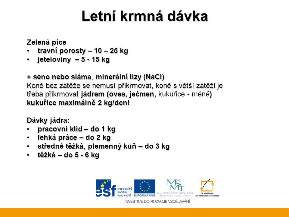 Letní krmná dávka Zelená píce travní porosty – 10 – 25 kgtravní porosty – 10 – 25 kg jeteloviny – 5 - 15 kgjeteloviny – 5 - 15 kg + seno nebo sláma, minerální lizy (NaCl) Koně bez zátěže se nemusí přikrmovat, koně s větší zátěží je třeba přikrmovat jádrem (oves, ječmen, ) třeba přikrmovat jádrem (oves, ječmen, kukuřice - méně) kukuřice maximálně 2 kg/den.