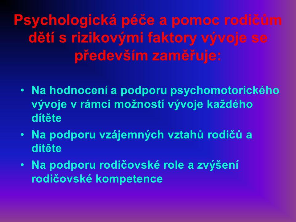 Psychologická péče a pomoc rodičům dětí s rizikovými faktory vývoje se především zaměřuje: Na hodnocení a podporu psychomotorického vývoje v rámci mož