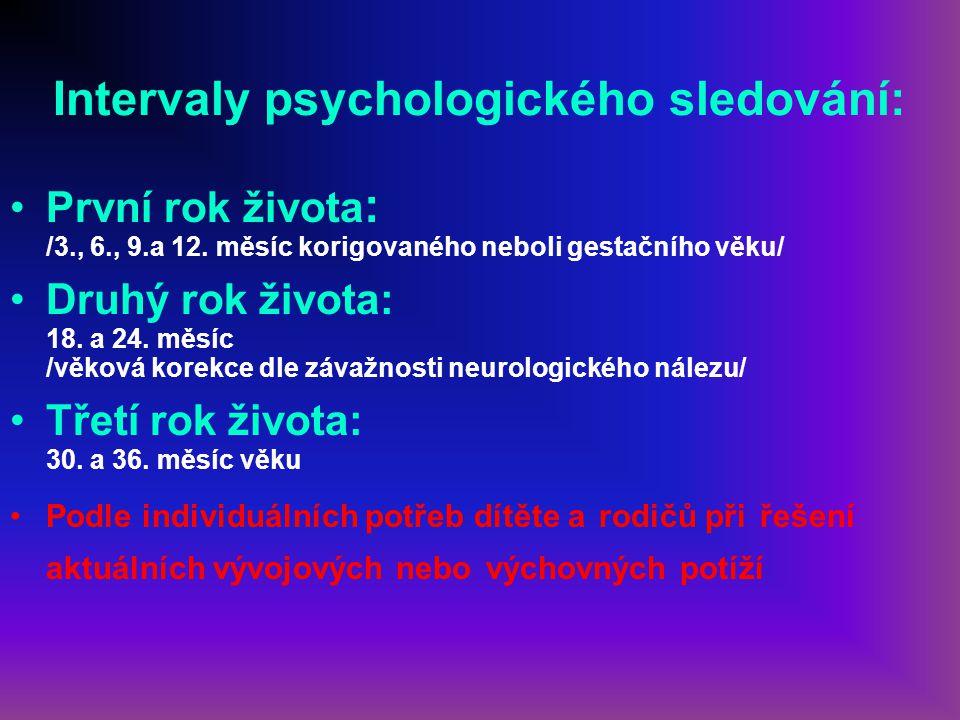 Intervaly psychologického sledování: První rok života : /3., 6., 9.a 12. měsíc korigovaného neboli gestačního věku/ Druhý rok života: 18. a 24. měsíc