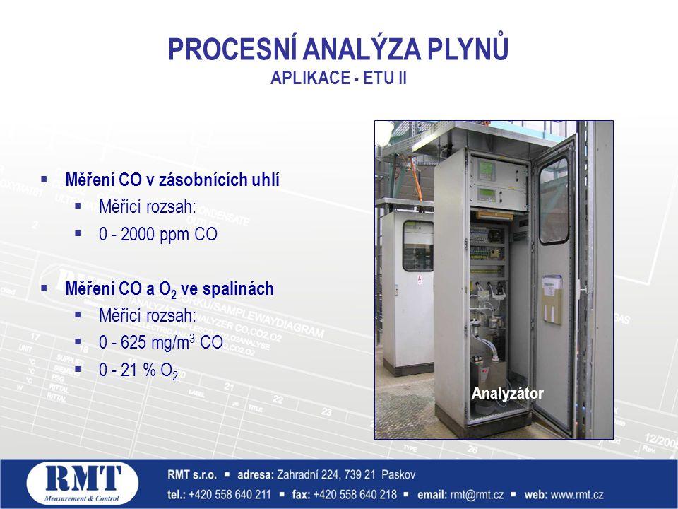  Měření CO v zásobnících uhlí  Měřící rozsah:  0 - 2000 ppm CO  Měření CO a O 2 ve spalinách  Měřící rozsah:  0 - 625 mg/m 3 CO  0 - 21 % O 2 PROCESNÍ ANALÝZA PLYNŮ APLIKACE - ETU II Analyzátor