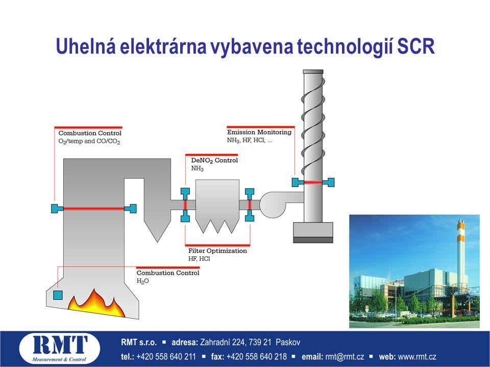 Uhelná elektrárna vybavena technologií SCR