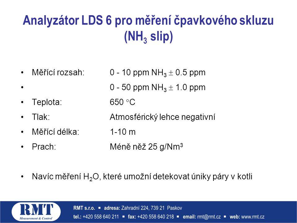 Analyzátor LDS 6 pro měření čpavkového skluzu (NH 3 slip) Měřící rozsah:0 - 10 ppm NH 3  0.5 ppm 0 - 50 ppm NH 3  1.0 ppm Teplota: 650  C Tlak: Atmosférický lehce negativní Měřící délka: 1-10 m Prach: Méně něž 25 g/Nm 3 Navíc měření H 2 O, které umožní detekovat úniky páry v kotli
