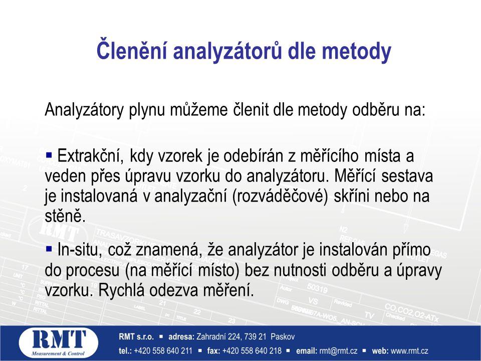 Analyzátory plynu můžeme členit dle metody odběru na:  Extrakční, kdy vzorek je odebírán z měřícího místa a veden přes úpravu vzorku do analyzátoru.
