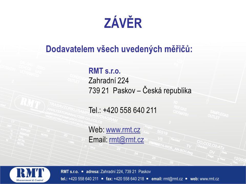 ZÁVĚR Dodavatelem všech uvedených měřičů: RMT s.r.o. Zahradní 224 739 21 Paskov – Česká republika Tel.: +420 558 640 211 Web: www.rmt.cz Email: rmt@rm