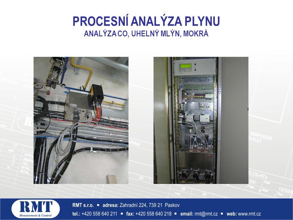 Odběrová sonda Analyzátor PROCESNÍ ANALÝZA PLYNU ANALÝZA CO, UHELNÝ MLÝN, MOKRÁ