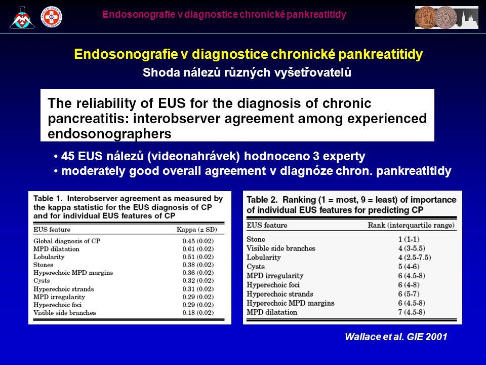 Shoda nálezů různých vyšetřovatelů Wallace et al. GIE 2001 45 EUS nálezů (videonahrávek) hodnoceno 3 experty moderately good overall agreement v diagn