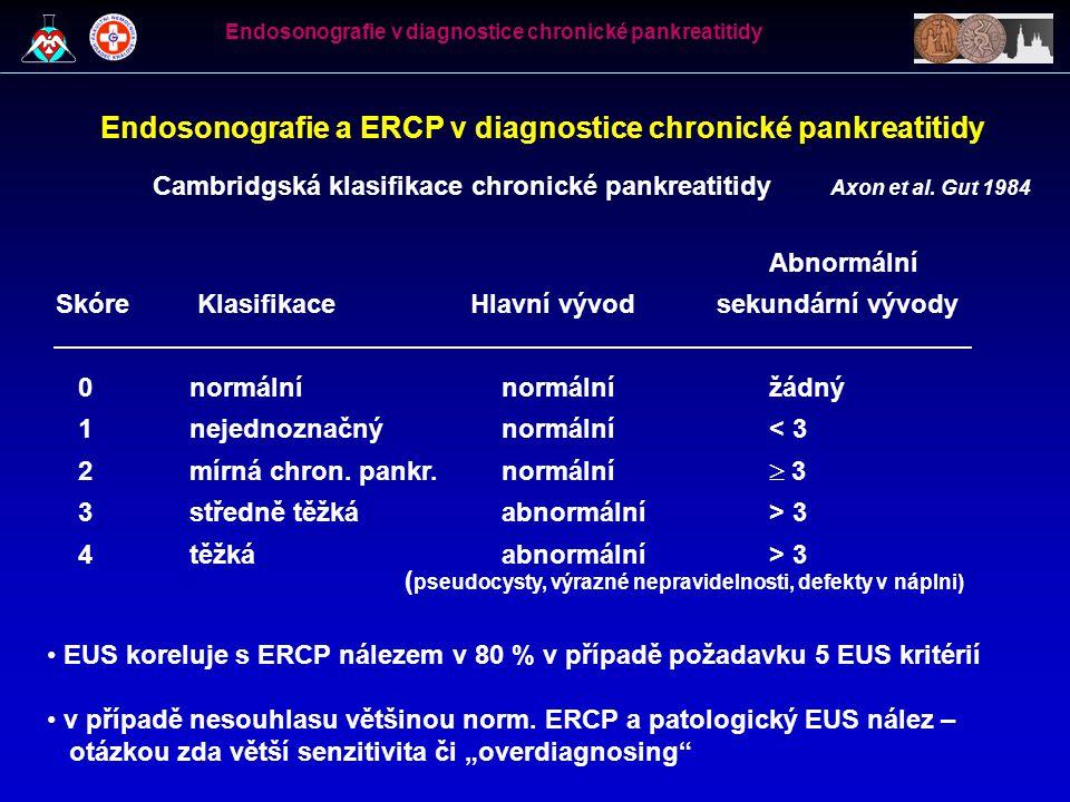 Endosonografie a ERCP v diagnostice chronické pankreatitidy Cambridgská klasifikace chronické pankreatitidy Abnormální Skóre Klasifikace Hlavní vývod