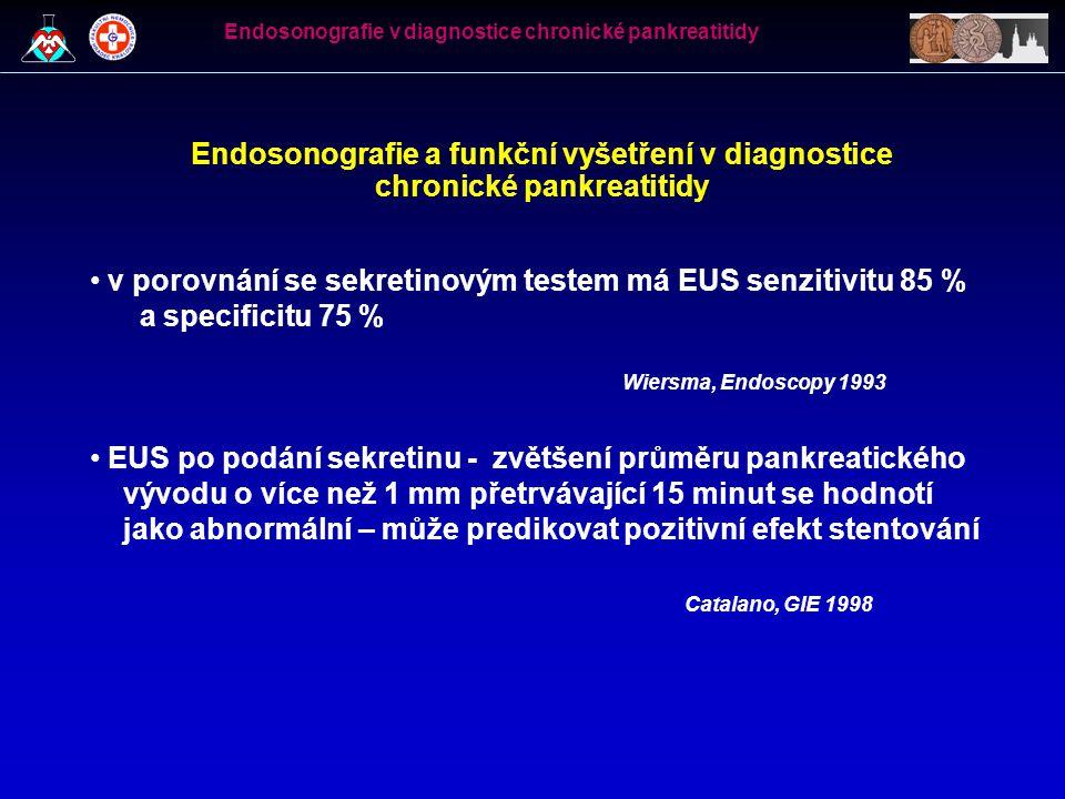 Endosonografie a funkční vyšetření v diagnostice chronické pankreatitidy v porovnání se sekretinovým testem má EUS senzitivitu 85 % a specificitu 75 %
