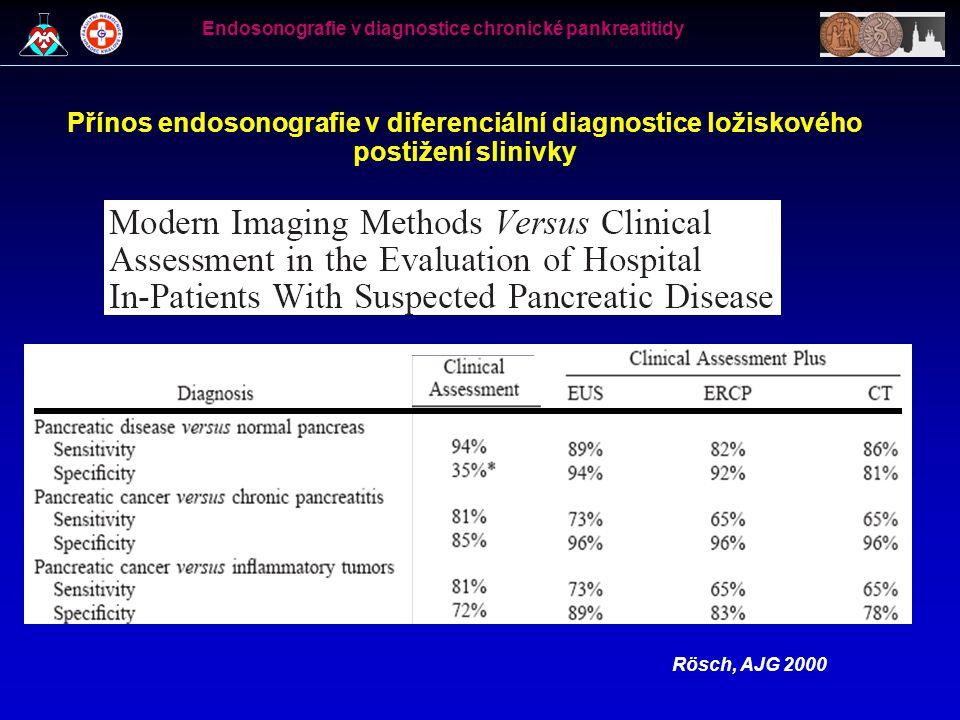 Přínos endosonografie v diferenciální diagnostice ložiskového postižení slinivky Rösch, AJG 2000 Endosonografie v diagnostice chronické pankreatitidy