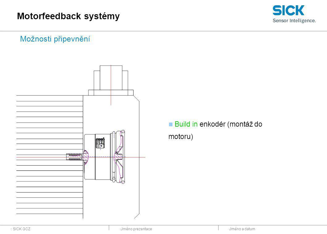 : SICK GCZ:Jméno prezentaceJméno a datum Build in enkodér (montáž do motoru) Motorfeedback systémy Možnosti připevnění