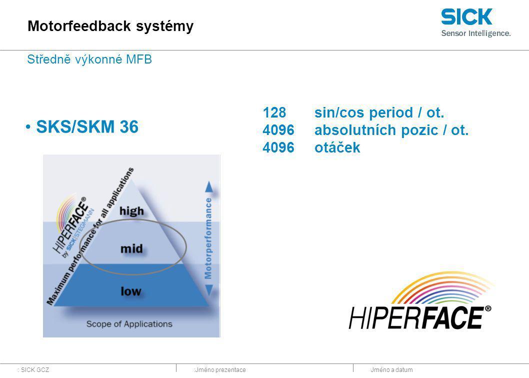 : SICK GCZ:Jméno prezentaceJméno a datum 128sin/cos period / ot. 4096absolutních pozic / ot. 4096otáček SKS/SKM 36 Motorfeedback systémy Středně výkon