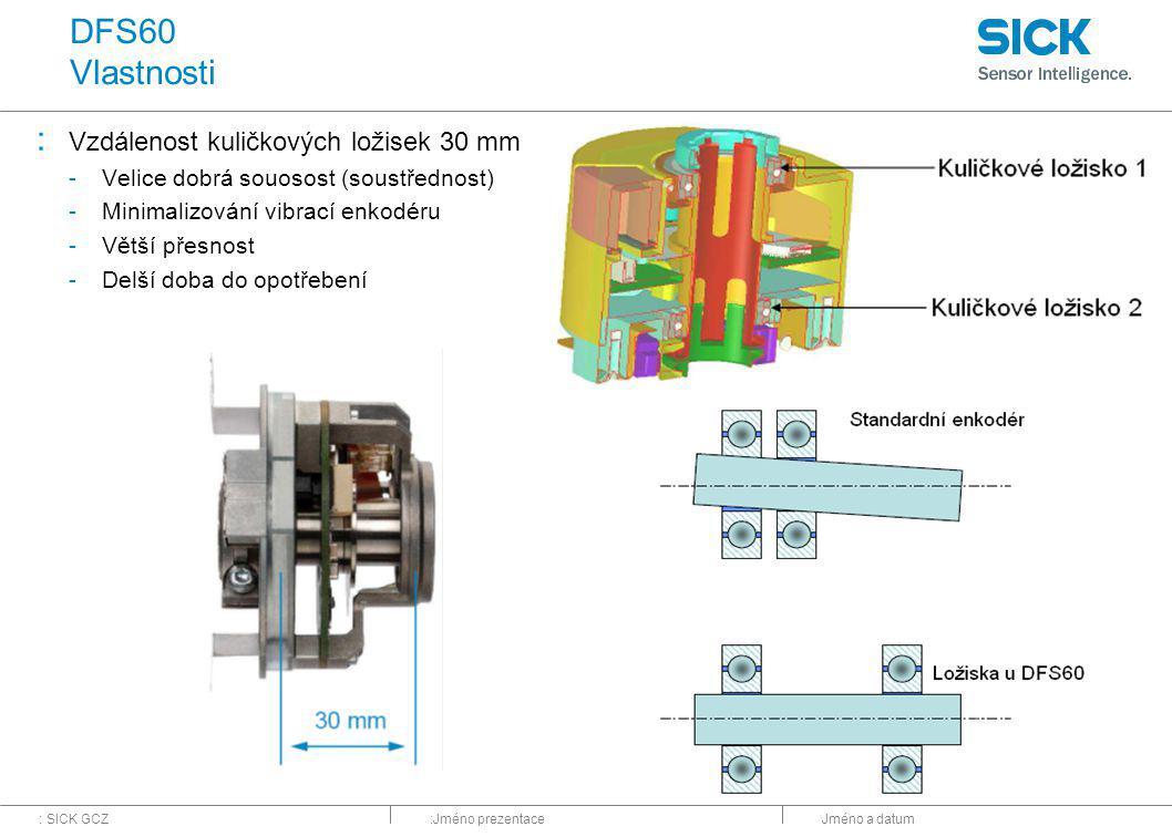 : SICK GCZ:Jméno prezentaceJméno a datum DFS60 Vlastnosti : Vzdálenost kuličkových ložisek 30 mm -Velice dobrá souosost (soustřednost) -Minimalizování vibrací enkodéru -Větší přesnost -Delší doba do opotřebení