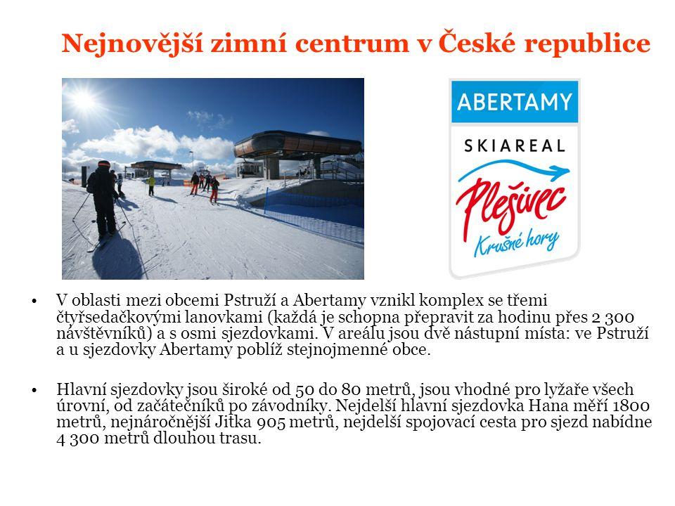 N ejnovější zimní centrum v České republice V oblasti mezi obcemi Pstruží a Abertamy vznikl komplex se třemi čtyřsedačkovými lanovkami (každá je schopna přepravit za hodinu přes 2 300 návštěvníků) a s osmi sjezdovkami.