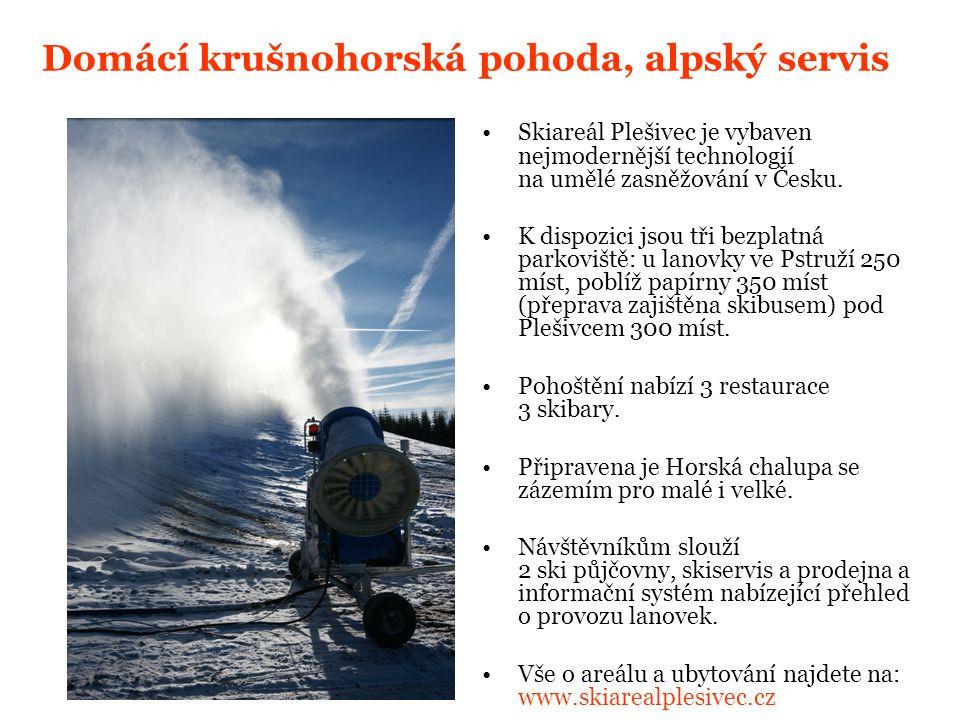 Domácí krušnohorská pohoda, alpský servis Skiareál Plešivec je vybaven nejmodernější technologií na umělé zasněžování v Česku.