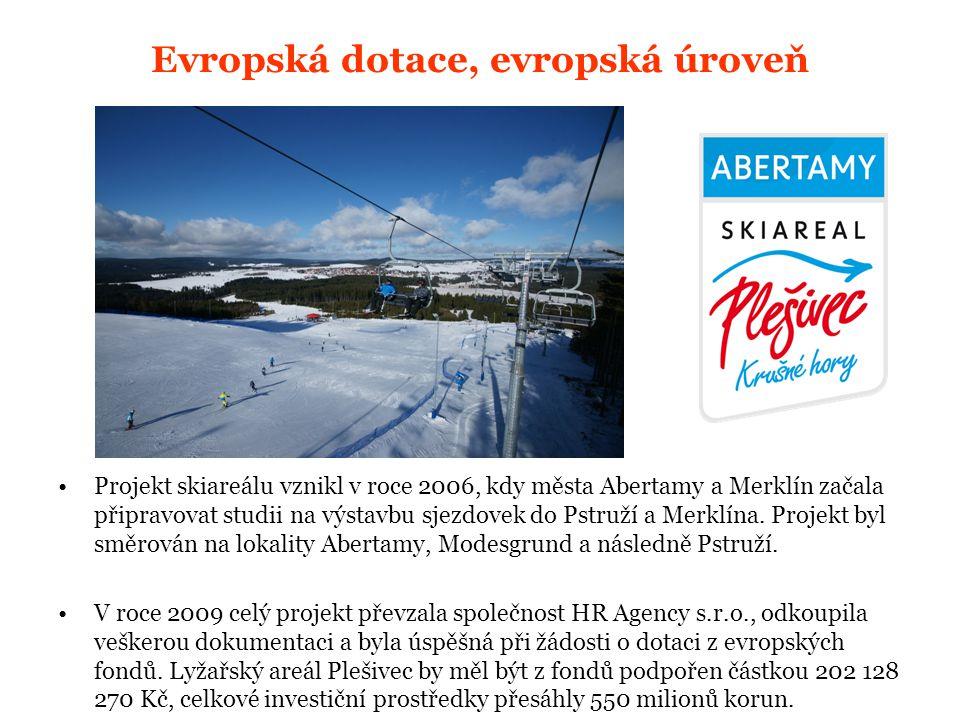 Evropská dotace, evropská úroveň Projekt skiareálu vznikl v roce 2006, kdy města Abertamy a Merklín začala připravovat studii na výstavbu sjezdovek do Pstruží a Merklína.