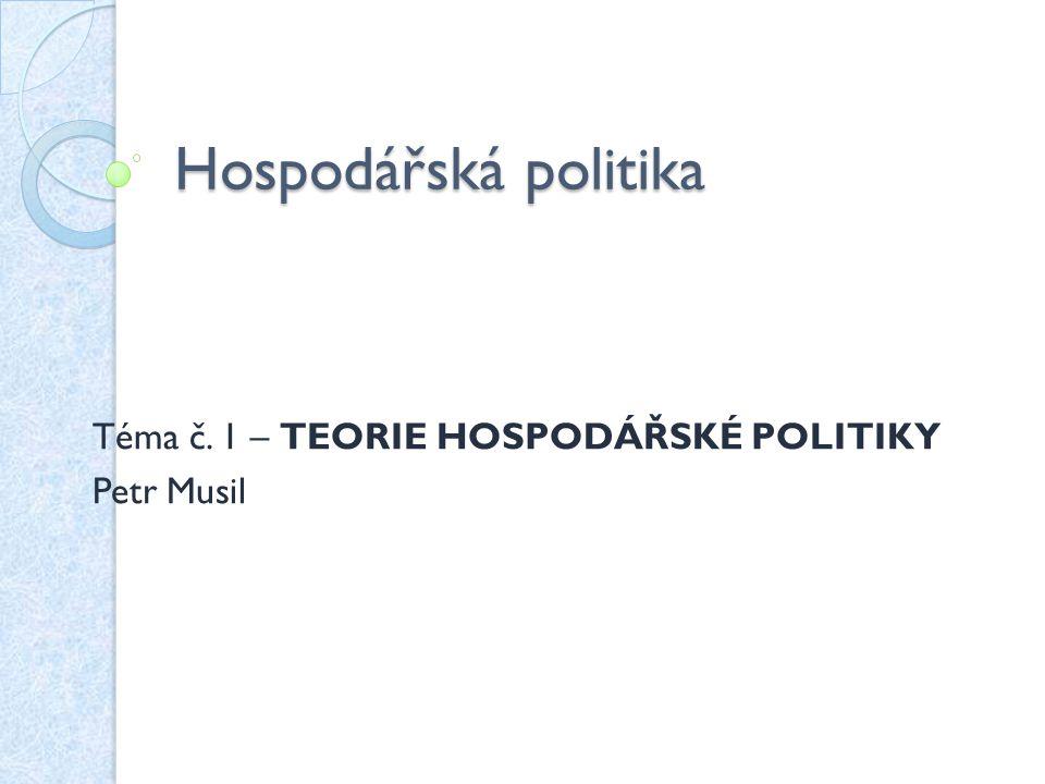 Zkouška: písemný test – multiple choice Literatura: Slaný A., Žák M.: Hospodářská politika.