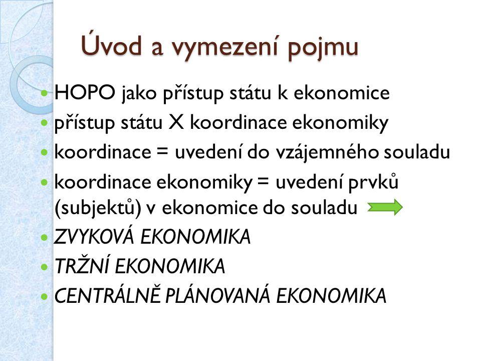 Hospodářsko-politické koncepce Základní proudy v HOPO: liberalní vs.