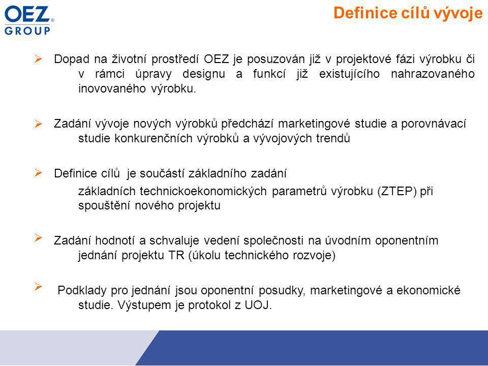  Definice cílů vývoje Dopad na životní prostředí OEZ je posuzován již v projektové fázi výrobku či v rámci úpravy designu a funkcí již existujícího nahrazovaného inovovaného výrobku.