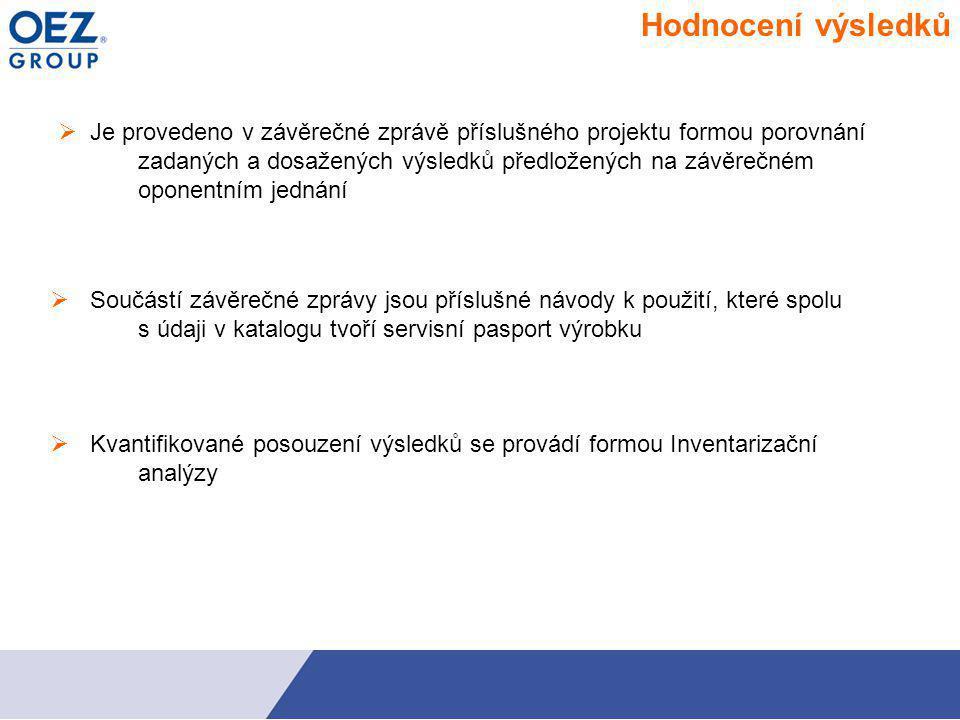 Hodnocení výsledků  Je provedeno v závěrečné zprávě příslušného projektu formou porovnání zadaných a dosažených výsledků předložených na závěrečném oponentním jednání Součástí závěrečné zprávy jsou příslušné návody k použití, které spolu s údaji v katalogu tvoří servisní pasport výrobku Kvantifikované posouzení výsledků se provádí formou Inventarizační analýzy  