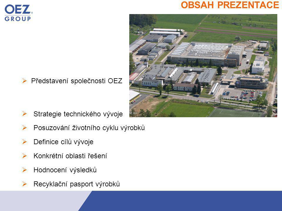 představeni OBSAH PREZENTACE  Představení společnosti OEZ Strategie technického vývoje   Posuzování životního cyklu výrobků   Konkrétní oblasti řešení Hodnocení výsledků Recyklační pasport výrobků  Definice cílů vývoje 