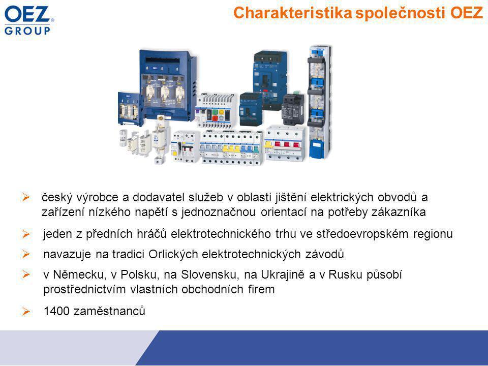    navazuje na tradici Orlických elektrotechnických závodů Charakteristika společnosti OEZ  český výrobce a dodavatel služeb v oblasti jištění ele