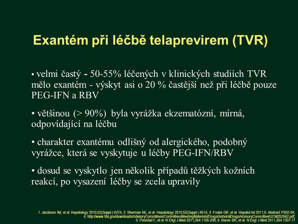 Exantém při léčbě telaprevirem (TVR) 1.Jacobson IM, et al.