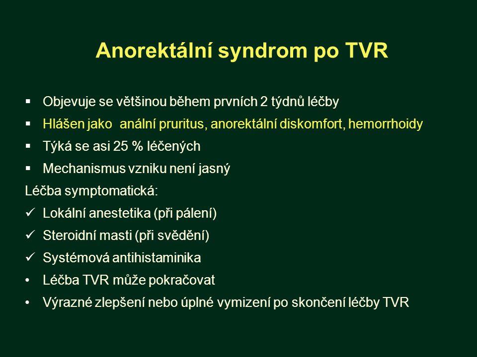 Anorektální syndrom po TVR  Objevuje se většinou během prvních 2 týdnů léčby  Hlášen jako anální pruritus, anorektální diskomfort, hemorrhoidy  Týká se asi 25 % léčených  Mechanismus vzniku není jasný Léčba symptomatická: Lokální anestetika (při pálení) Steroidní masti (při svědění) Systémová antihistaminika Léčba TVR může pokračovat Výrazné zlepšení nebo úplné vymizení po skončení léčby TVR