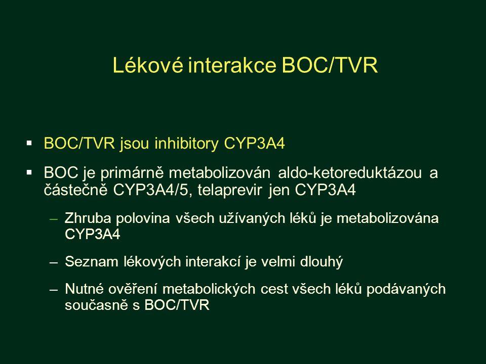 Lékové interakce BOC/TVR  BOC/TVR jsou inhibitory CYP3A4  BOC je primárně metabolizován aldo-ketoreduktázou a částečně CYP3A4/5, telaprevir jen CYP3A4 –Zhruba polovina všech užívaných léků je metabolizována CYP3A4 –Seznam lékových interakcí je velmi dlouhý –Nutné ověření metabolických cest všech léků podávaných současně s BOC/TVR