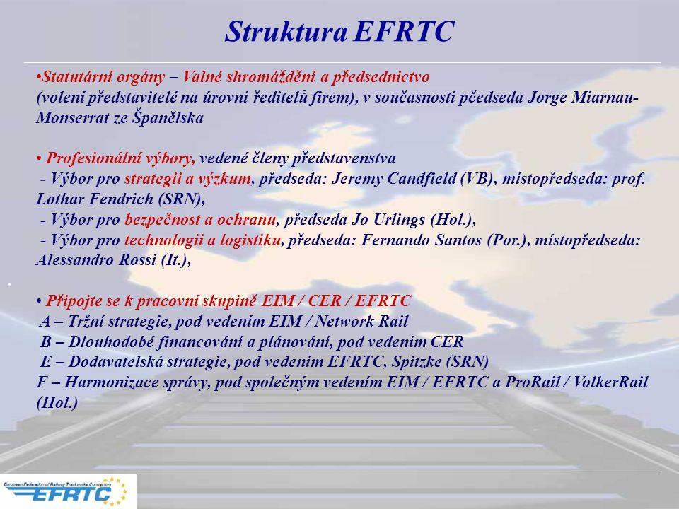 Struktura EFRTC Statutární orgány – Valné shromáždění a předsednictvo (volení představitelé na úrovni ředitelů firem), v současnosti pčedseda Jorge Miarnau- Monserrat ze Španělska Profesionální výbory, vedené členy představenstva - Výbor pro strategii a výzkum, předseda: Jeremy Candfield (VB), místopředseda: prof.